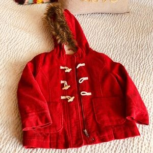 Mini Boden corduroy red coat 5-6
